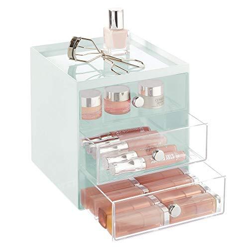 mDesign Make-up Organizer – stapelbare Aufbewahrungsbox mit 3 Schubladen für Mascara, Puder, Nagellack und mehr – Schubladenbox für Badezimmer, Schminktisch oder Büro – mintgrün und durchsichtig
