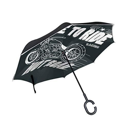rodde Doppelschicht-umgekehrter Motorradrennen-Typografie-Regenschirm-Auto-Rückseiten-winddichter Regen-Regenschirm für das Auto im Freien mit C-förmigem Griff