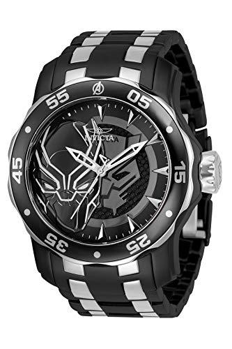 Invicta Marvel Men's 48mm Pro Diver Scuba Black Panther Black Silver Two Tone Limited Edition Quartz Stainless Steel Bracelet Watch