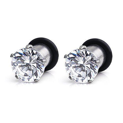 Ruifan 316L Surgical Steel Single Flare Prong Set Clear CZ Ear Stretcher Expander Plugs Piercing Gauge with O-Ring 2G(6mm)- Sold As a Pair