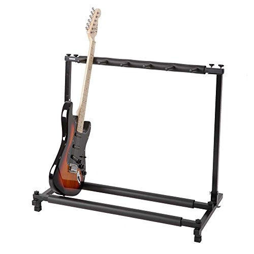Kuyal 5 Holder Guitar Stand,Multi-Guitar Display Rack Folding Stand Band Stage Bass Acoustic Guitar, Black