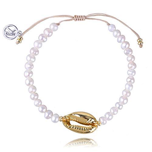 KELITCH Natural Shell Pearl Strand Bracelet Bohemian Gold Cowry Seashell Beach Bracelets Ankle Handmade Gift for Women
