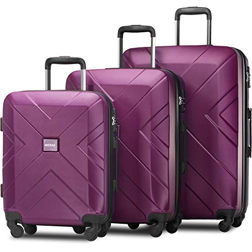 Merax 3 Piece Luggage Sets Expandable ABS Spinner Suitcase with TSA Lock 20 inch 24 inch 28 inch (Elegant Purple)