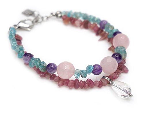 Armband van toermalijn, rozenkwarts, amethist, blauwe apatiet, bergkristal bevestiging/gesp van staal.