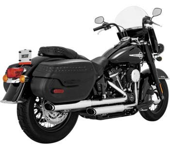 Vance & Hines 16879 Chrome Twin Slash Oval Slip-Ons Mufflers for 2018-Newer Harley M8 Softail Deluxe and Heritage Classic Models