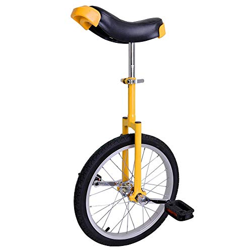 18 Inch Unicycles for Adults Kids - 【𝐒𝐭𝐫𝐨𝐧𝐠 𝐌𝐚𝐧𝐠𝐚𝐧𝐞𝐬𝐞 𝐒𝐭𝐞𝐞𝐥 𝐅𝐫𝐚𝐦𝐞】, Unicycles, Uni Cycle, One Wheel Bike for Adults Kids Men Teens Boy Rider, Mountain Outdoor (Yellow)