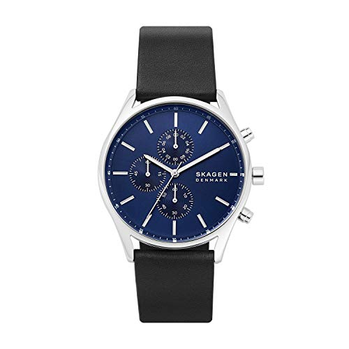 Skagen Men's Holst Quartz Analog Stainless Steel and Leather Watch, Color: Blue/Black Leather...