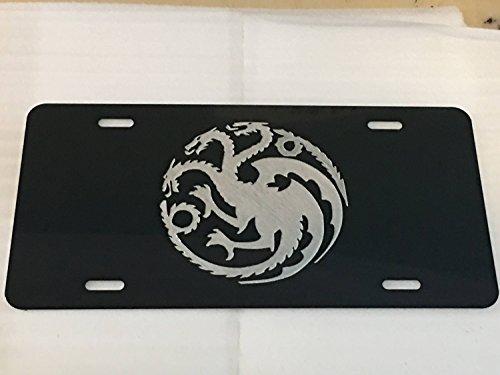 Diamond Etched Targaryen Dragon Logo Car Tag on Black Aluminum License Plate