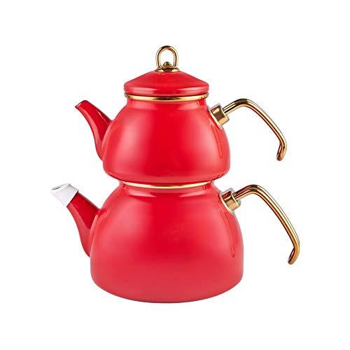 Karaca Retro Emaille Teekannen- Set, Rot, Induktion, Teekocher, Wasserkocher, Teeaufguss 1,1L, Wasserkanne 2,3L, Türkische Teekanne, Tea Maker, Caydanlik, Demlik