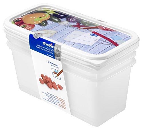 Rotho Domino 3er Set Vorratsdosen, Kunststoff (BPA-frei), weiss mit beschreibarem Deckel, 3 x 1.5 Liter (23,3 x 11,8 x 10 cm)