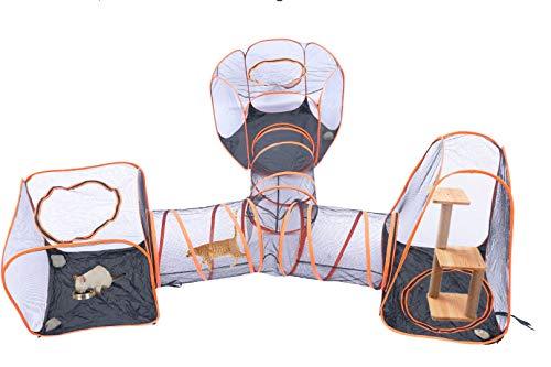 Saiyun Compound Haustier-Spielhaus, tragbar, 4 in 1, Haustierzelt für Hunde und Katzen, Laufstall, Käfig, Zäune, Tunnel, Spielhaus, für drinnen und draußen