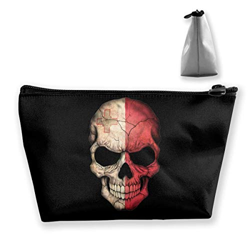 Malte Flag Skull Portable Maquillage Sac de Réception Sac de Rangement Grande Capacité Main Travel Wash Bag