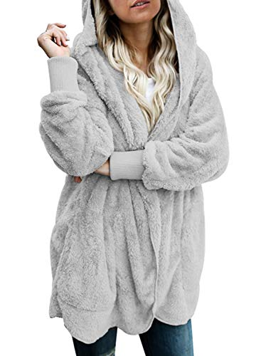 Dokotoo Womens Loose Ladies Solid Oversized Fuzzy Fluffy Sherpa Winter Faux Fur Open Front Long Sleeve Fleece Hoodies Cardigans Sweaters Jackets Coats Outerwear Grey Large