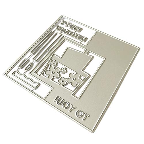 Scrapbooking Embossing Cutting Die,Happy Birthday Letter Carbon Steel Cutting Die DIY Craft Mold Scrapbook Mould - Silver