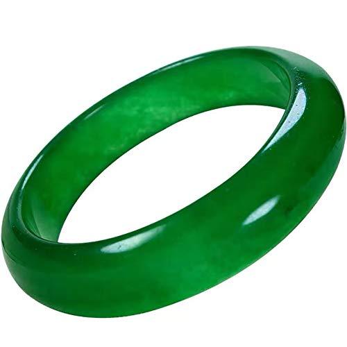 JINGJIN Pulsera Jade Verde Natural, Pulsera Brazalete de Jade Verde de Estilo Natural,Señoras Pulsera De Jade Brazalete Auténtica Joyería,Regalo de Madre e Hija,60-62mm