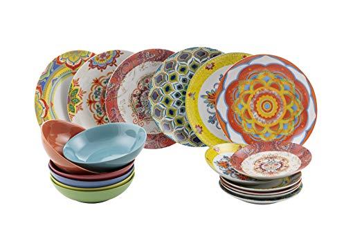 Villa D'Este Calamoresca Juego de 18 Platos de Gres y Porcelana de Varios Colores