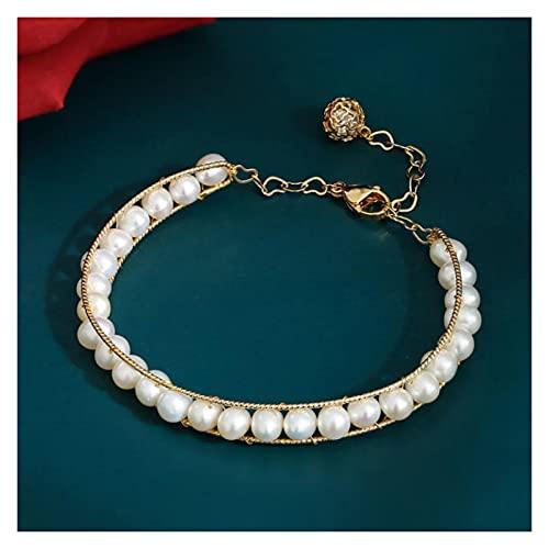 LYNLYN Pulseras Pearl Multi Bead Multi Bead Seda Seda Ajustable Pulsera 16 cm (Color : White)
