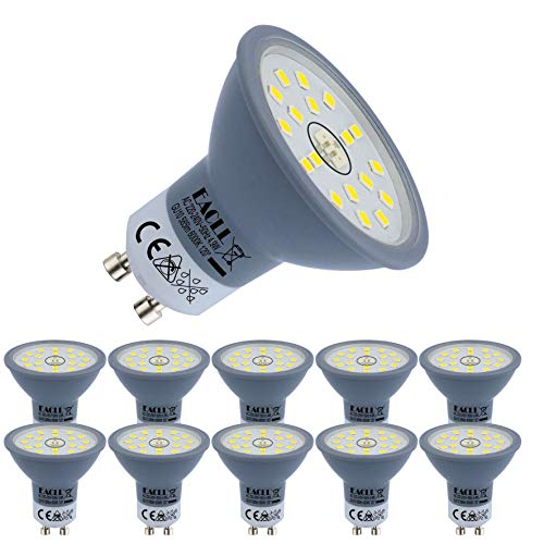 EACLL Bombillas LED GU10 6000K Blanco Frio 4.9W Fuente de Luz 585 Lúmenes Equivalente 50W Halógena Lámpara. AC 230V Sin Parpadeo Focos, 120 ° Luz Diurna Blanca Fría Reflectoras Spotlight, 10 Pack