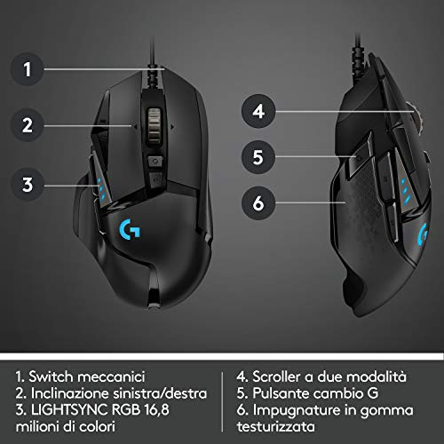 Logitech G502 HERO Mouse gaming con sensore HERO (mouse RGB, 16.000 DPI, 11 pulsanti programmabili, 5 pesi regolabili), Imballaggio per l'Europa occidentale IT, Con cavo, Nero