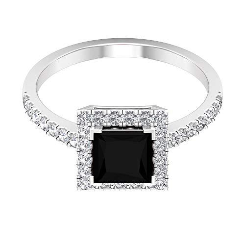 Anillo de compromiso de diamante negro creado en laboratorio de 6 mm, anillo de diamantes de oro, 14K Oro rosa, Size:EU 49