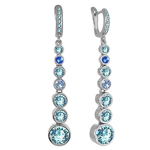 Pendientes de cristal redondos chapados en oro o plata, Latón Metal plateado. Cristal, Crystal Topaz Aquamarine,