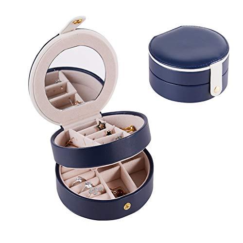 Joyero Viaje ,JOYH Joyeros Mujer Organizador 2 Capas Caja de Joyas de Cuero Pequeño para Pulsera, Reloj , Anillo, Pendiente ,Collars (Azul)