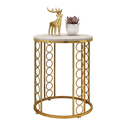 DSWHM Creative Round Coffee Table Bed Tables Sofa Side Table Marble Magazine Shelf Small Desk Bedroom Living Room Furniture (Color : Gold)