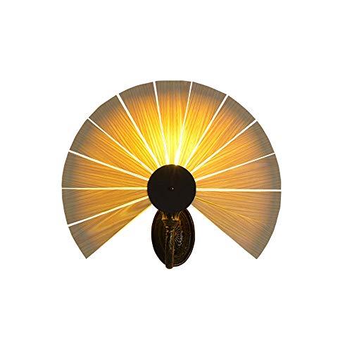 Dkdnjsk (1 Pack / 2 Packs) Kreative Persönlichkeit Fächerförmige Wandlampen Wohnzimmer Korridor Schlafzimmer Nachtwandleuchte Handgefertigte Naturholz Furnier Lampenschirm Bronze Geschnitzte Lampenfas
