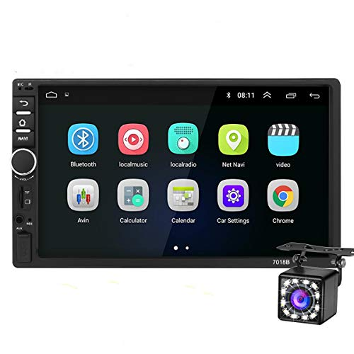 Double Din Car Stereo Android GPS Navigation,7 inch Car Multimedia Player Bluetooth SD USB AUX Input,Car Audio FM Radio,WiFi,Phone Mirror Link, Rear Camera,Support Steering Wheel Control