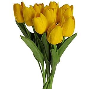 Enticerowts – Juego de 10 tulipanes artificiales de colores vivos para decoración del hogar, boda, fiesta, regalo…