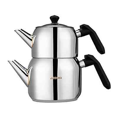 Amboss Turkish Teapot Set 3Lt. Capacity Stainless Steel Induction Cooker Compatible Turkish Tea Set (Black)