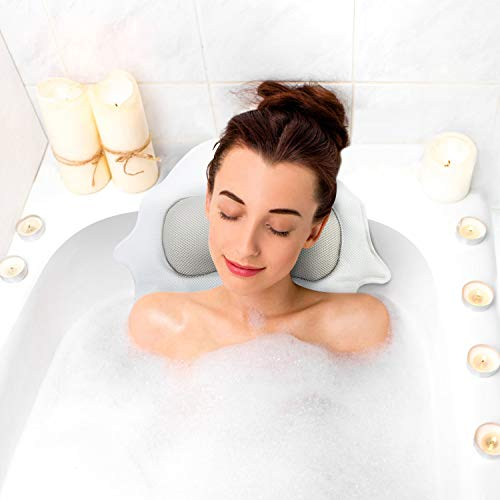 Fuloon SPA Bathtub Pillow, Bath Cushion Pillows Mesh Memory Foam Owl Design for Head, Neck and Shoulder with Suction Cups, Machine Washable