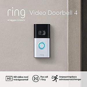 Helt ny Ring Video Doorbell 4 av Amazon – HD Video med tvåvägssamtal, förhandsvisning av Pre-Roll-video i färg, batteridriven   30 dagars kostnadsfri provperiod av Ring Protect-abonnemang