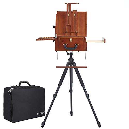 MEEDEN Ultimate Pochade Box with Aluminum Tripod Combo,Nylon Carry Bag,Lightweight French Box Easel for Plein Air Painting, All in One Design,Make Outdoor Painting Easy and Fun
