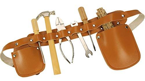 Spiel AG Kinder Werkzeuggürtel aus Leder mit echtem Werkzeug 7 TLG