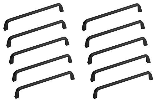 Gedotec Tirador para muebles de color gris grafito, BA 160 mm, tirador de arco para cajones de cocina, tirador para puertas de armario, 10 unidades, para atornillar