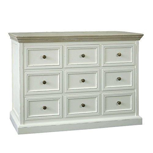Große Kommode Huntington weiß beige Holz Apothekerschrank mit 9 Schubladen