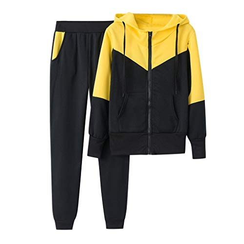 Damen Sportanzug Traingsanzug Jogginganzug Herbst Winter Sport Outdoor Hip-Hop Fitness Frauen 2 Teilig (Gelb,M)