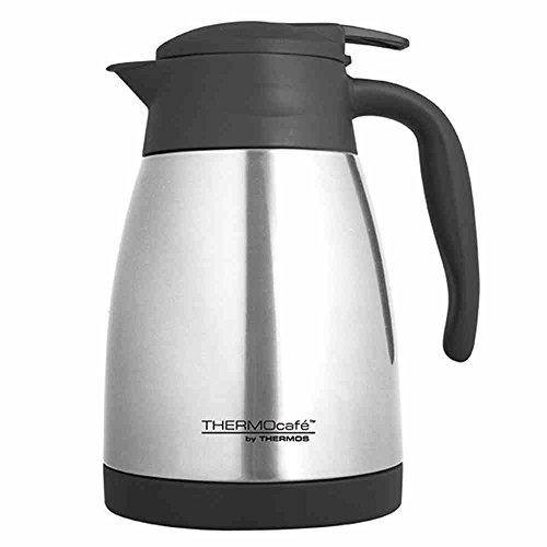 ThermoCafé by THERMOS 4062.205.100 Isolierkanne TLC, Edelstahl mattiert 1,0 Liter, Einhandbedienung, BPA-Free