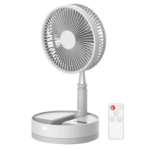 APOKIN® Ventilador Plegable de Pie Silencioso USB Portátil Giratorio 90º a Batería Recargable con Lampara Led 10800mha Extensible con Palo Telescópico con 3 Velocidades, temporizador de apagado.