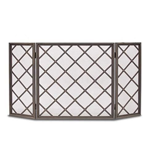 hkwshop Salvachispas Plegable Tres Panel básico Arco Chimenea Pantallas Valla Estufa con Net Protector de Chimenea