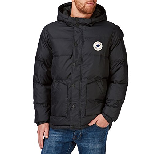 Converse acolchada con capucha chaqueta color negro, hombre, negro, small