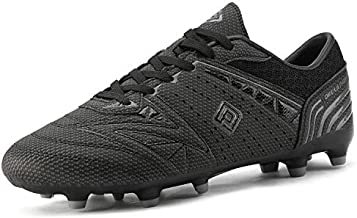 DREAM PAIRS 160859 Men's Sport Flexible Athletic Lace Up Light Weight Outdoor Cleats Football Soccer Shoes Black DK.Grey Size 10.5