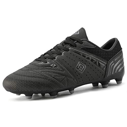 DREAM PAIRS 160859 Men's Sport Flexible Athletic Lace Up Light Weight Outdoor Cleats Football Soccer Shoes Black DK.Grey Size 10
