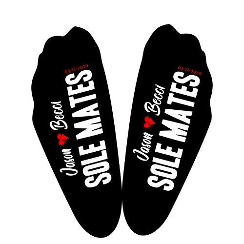 Calcetines personalizados con suela negra para parejas, fecha de boda, cualquier texto marido, novio, padre
