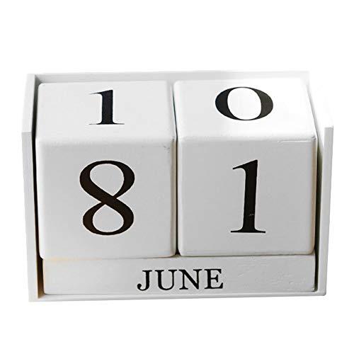 Yililay Calendario Perpetuo in Legno Calendario da Tavolo Blocco Planner Ornamento Decorazione per Casa Ufficio Bianco