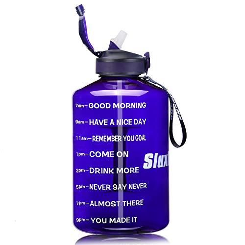 Sluxke Botella de deporte de 2,2/3,78 l, botella de agua grande, sin BPA, antigoteo, botella de agua para gimnasio, A7-purple blue, 2l