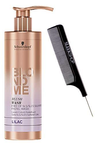Schwarzköpf Blondme BLUSH WASH Shampoo, Blonde Me Free of SLS/SLES Sulfates Pastel Wash (w/Sleek Steel Pin Rat Tail Comb) Blond Me Color Hair Pigment Shampoo Cleanser (Lilac - 8.4 oz)