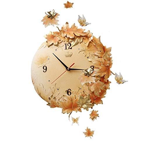 Ahornblatt Wanduhr, Blätter 3D Dreidimensionale geprägte Art Deco Wanduhr, Europäischen Stil Umweltfreundliches Harz Silent Ohne Tickgeräusche Quarz-Uhr,Beige