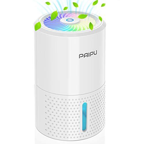 PAIPU Dehumidifier 1000ml Small Electric Dehumidifiers for Home, Quiet Portable Air Cleanser 400ml/24h with Auto-Off, Dehumidifiers for Home Damp, Kitchen, Garage, Basement (White New)